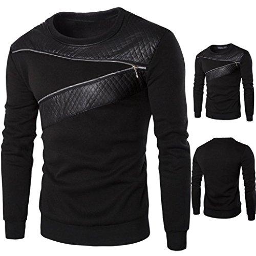 Sunward Men Fashion Winter Warm Splicing Leather Sweatshirt Coat Jacket Outwear Sweater (XL, Black)