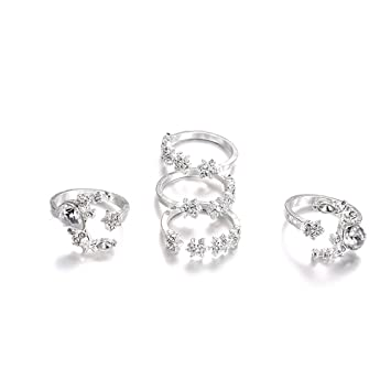 083d3e32e4b5e6 Image Unavailable. Image not available for. Color: Stackable Rings for Teen  Girls Jiayit 5pcs Stack RingsFlower Rhinestone Joint Rings Knuckle Nail Ring  Set
