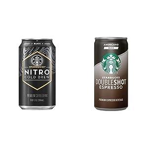 Starbucks Nitro Cold Brew, Black Unsweetened, 9.6 Fl oz Can (8 Pack) & Doubleshot Espresso, Americano Black, 6.5 fl oz. Cans, (12 Pack)