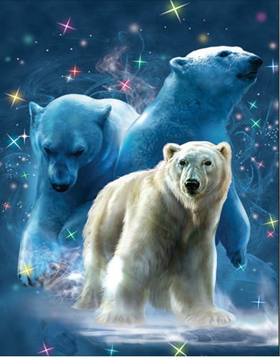 TripStan 3D Home Wall Art Decor Lenticular Pictures, Bears Collection Holographic Flipping Images, 12x16 inches Animal Poster Painting, Without Frame, Polar Bear (Polar Bear Pictures)