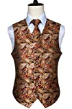 HISDERN Men's Paisley Floral Jacquard Waistcoat & Neck Tie and Pocket Square Vest Suit Set