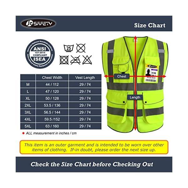 JKSafety Nueve bolsillos Nivel 2 Uniforme trabajo Chaleco con cremallera-Chaleco reflectante fluorescente-Chaleco de… 10