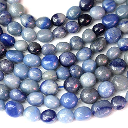 Natural Gemstone Beads Nuggets 8-10mm for Jewelry Making Loose Beads (Blue Aventurine)