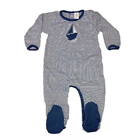 Mono Pelele algodón niño bebé RAPIFE rayas blanco azul - 6 M: Amazon.es: Bebé