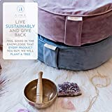 Buckwheat Meditation Cushion Round Zafu Yoga Pillow - Zafu Meditation Cushion Velvet with Zippered Organic Cotton Liner to Add or Remove Hulls | Machine Washable - Free Carry Bag
