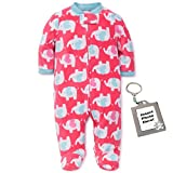 Little Me Heart Elephant Blanket Sleeper Girls Winter Footed Pajamas-Pink-18 Mth
