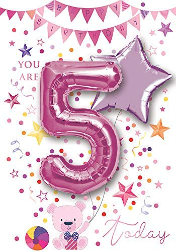 Tarjeta de felicitación para 5º cumpleaños 5 hoy (niña) con ...