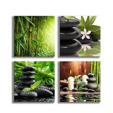 YPY Paintings Bamboo Green Pictures with SPA Zen Stone Candles Flower Print on Canvas Wall Art for Home Décor Bathroom Living Room Bedroom 12inchx12inchx4pcs