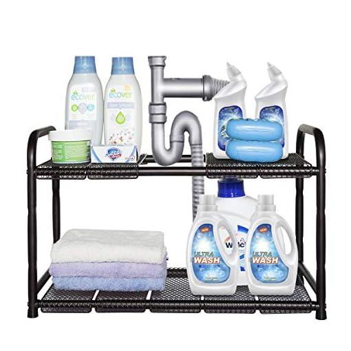 Kitchen STORAGE MANIAC Under Sink 2 Tier Expandable (Width & Height) Shelf Organizer, Under Sink Organizer and Storage with 10… under-sink organizers