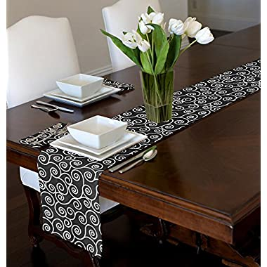Black & White Modern Contemporary Swirl Table Runner Mat Topper (12  x 72 )
