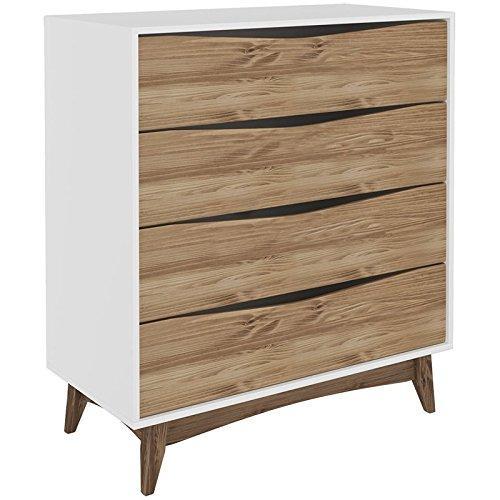 (Manhattan Comfort CS48308 Hamilton 4-Drawer Bedroom Wide Dresser Cabinet White/Natural Wood)