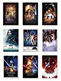 Star Wars: Episode I, II, III, IV, V, VI, VII, VIII & Rogue One - Movie Poster Set (9 Individual Full Size Movie Posters - Version 2) (Size: 24'' x 36'' each)