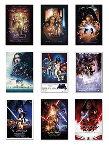 Star Wars: Episode I, II, III, IV, V, VI, VII, VIII & Rogue One - Movie Poster Set (9 Individual Full Size Movie Posters - Version 2) (Size: 24