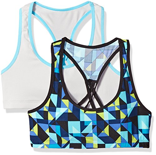 Fruit of the Loom Big Girls' Micro Stretch Sports Bra (Pack Of 2), Blue Kaleidoscope/Icicle Turquoise, (Girls Icicle)