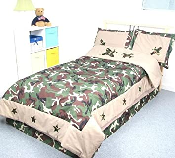 Camouflage Army Boy Twin Kids Childrens Bedding Set 5 PcsDeal Specal