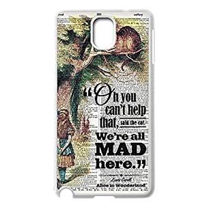 Fashion Cheshire Cat Quotes We Are All Mad Here Back Protective Back Case Slim Printed cover for Samsung Galaxy Note 3 N9000 -White030908