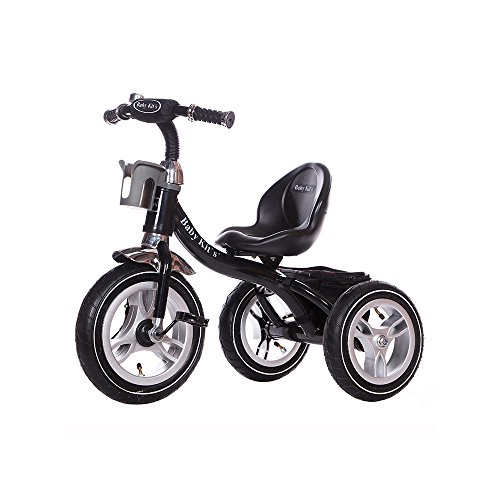 Little Bambino RideOn Pedal Tricycle Children Kids Smart Design 3 Wheeler | CE Approved Air Wheels Adjustable Seat Metal Frame Bell (Black)