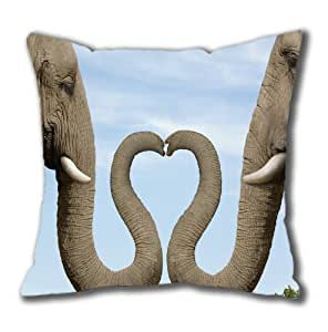Animal - Elephant Custom Cotton Pillowcase, Zippered Square Pillow Cover by Popcustom by ruishername