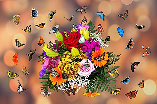 Bouquet Delight (Gifts Delight LAMINATED 36x24 inches POSTER: Emotions Flowers Butterflies Bouquet Fly Wing Colorful Animals Greeting Card Nectar Valentine'S Day Love)