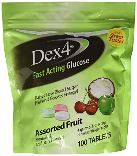 Dex4 Glucose Tablets,Assorted Fruit Medley, 100 Count