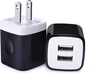 USB Charging Block, 2-Pack 5V/2.1A Dual-Multi Port USB Wall Charger Power Adapter Black Charging Cube Box for iPhone 11/X/8/7,iPad,iPod, Samsung S21/S20/S10,Note 21/20/10/9, Google Pixel, HTC, LG,Moto