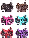 "AceRugs 12"" 13"" Kids Youth SEAT Western Full Size Horse Saddle TACK Package Barrel Racing Silver Show Pink Purple RED Blue Crystal"
