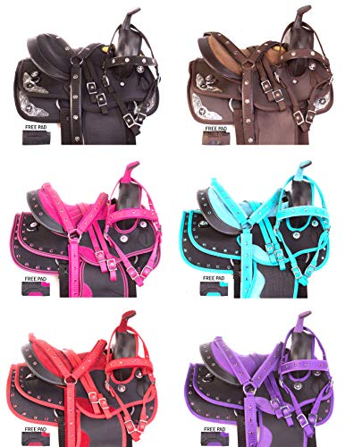 "AceRugs 12"" 13"" Kids Youth SEAT Western Full Size Horse Saddle TACK Package Barrel Racing Silver Show Pink Purple RED Blue Crystal (Pink, 12)"