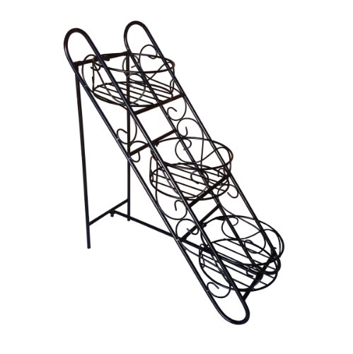Pangaea Folding Iron Garden - Pangaea Home and Garden Folding Iron Plant Stand with Three Basket