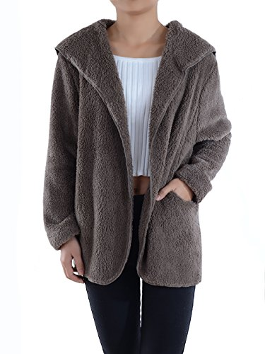 Anna-Kaci Lounge & Chill Hooded Fluffy Fleece Comfy Soft Teddy Coat Jacket, Brown, Medium/Large (Jacket Plush Hooded)