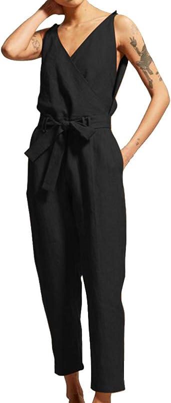 Mono Largo Mujer Algodón Y Lino Jumpsuit Corbata De Cintura Casual Oficina Nueve Pantalones Negro 5XL: Amazon.es: Ropa y accesorios