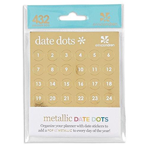 Erin Condren Metallic Date Dots- Gold