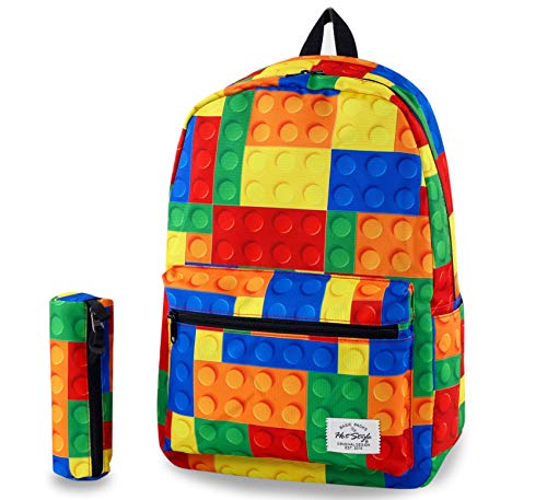 hotstyle TRENDYMAX Cute Backpack for School,Blocks | Bundles with Matching Pencil Bag
