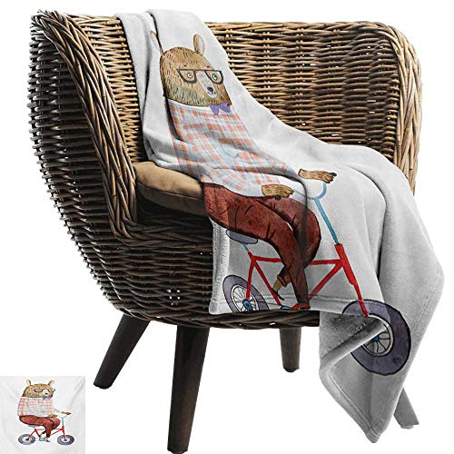 BelleAckerman Cool Weighted Blanket Adult,Funny,Cartoon Bear Dressed up in Hipster Clothes Riding a Bike Watercolor Urban Character,Multicolor,300GSM,Super Soft and Warm,Durable Throw Blanket 60