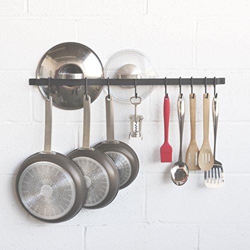 WALLNITURE Kitchen Rail Organizer Iron Hanging Utensils Rack with Hooks Frosty Black 30 Inch by Wallniture (Image #6)