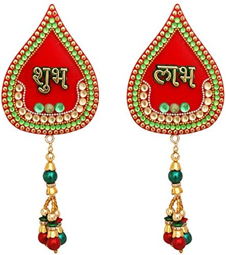 The Indian Storeroom Diwali Decorations Decorative Shubh Labh Door Hanging Red Handcrafted Acrylic Showpiece Door Valance