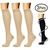 Compression Socks (3 Pairs), 15-20 mmhg is BEST Athletic & Medical for Men & Women, Running, Flight, Travel, Nurses, Pregnant - Boost Performance, Blood Circulation & Recovery (Large/X-Large, Nude)