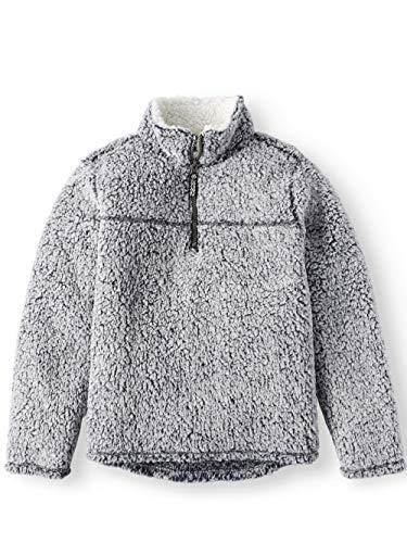 (Boys Quarter Zip Sherpa Pullover Hoodie (Medium 8, Winter)