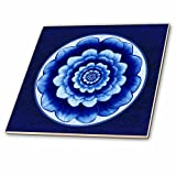 3dRose Jaclinart Pastel Blue and Cobalt Fantasy Mandala Flower on Royal Blue Background Tile