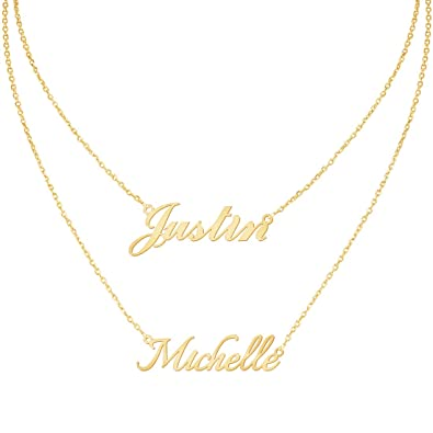 f2b122458 Custom4U Personalized Name Necklace Custom Made Pendant Jewelry Gift for  Women (Layered Necklace with 2