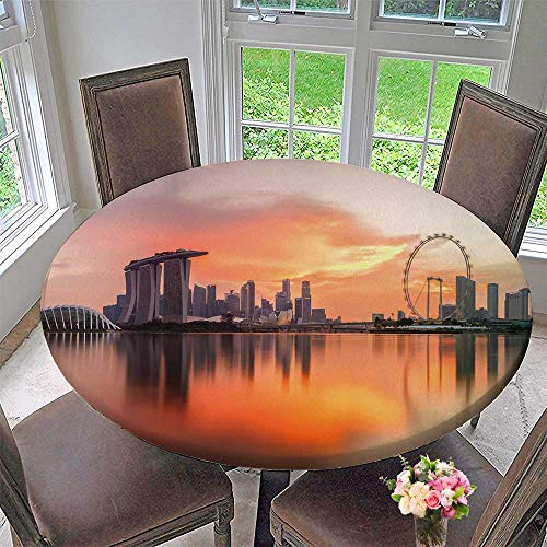 PINAFORE HOME Modern Table Cloth sapore Skyline at Sunset time in sapore City Indoor or Outdoor Parties 40