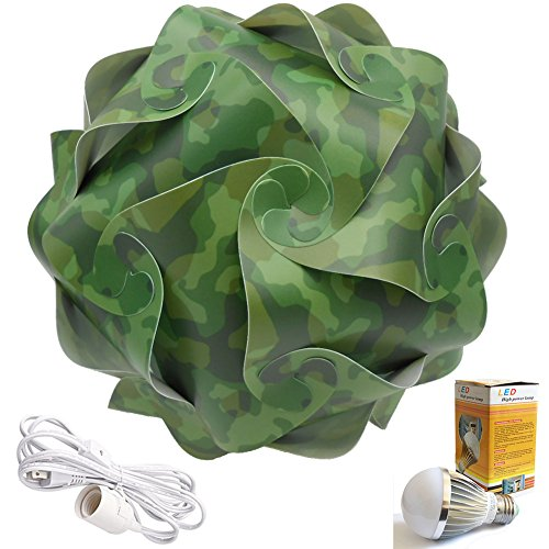 Cospring Printed IQ Puzzle Lamp Shade with 5W LED Bulb and 3.6M Wire w/Plug-Camouflage by Cospring