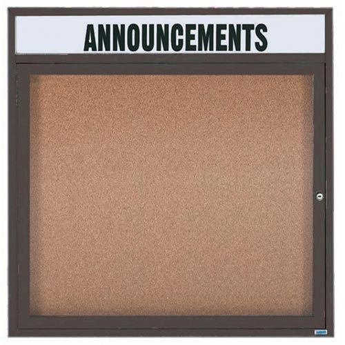 Illuminated Outdoor Enclosed Wall Mounted Bulletin Board Frame Color: Clear Satin Anodized, Number of Doors: One, Size: 36'' H x 36'' W by Aarco