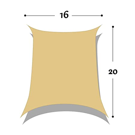 DIR 16 x 20 Rectangle Sun Shade Sail Uv Top Outdoor Canopy Patio Lawn Shade Sail in Color Sand