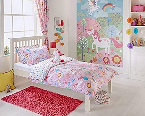 Unicorn Design Toddler Duvet Set, Single Bed Duvet Set, Curtains Wall Art In pInk (Single Bed Size) Riva