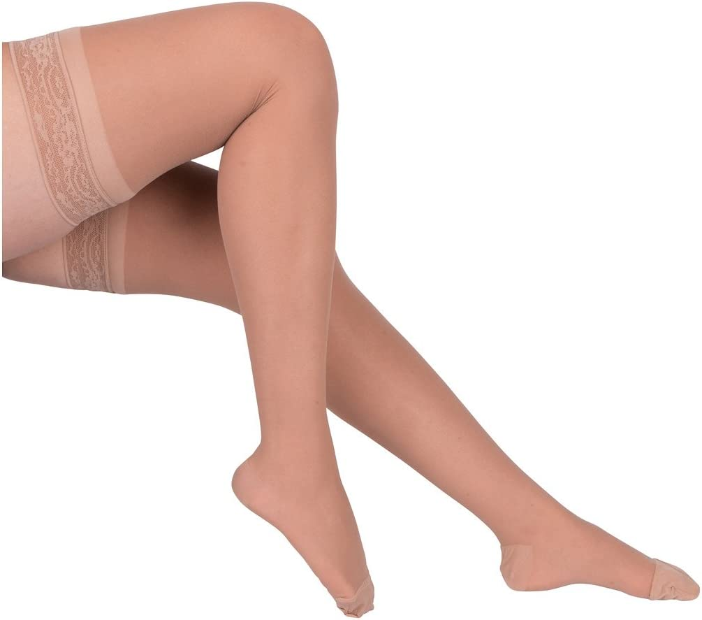 EvoNation Women's USA Made Thigh High Graduated Compression Stockings 15-20 mmHg Moderate Pressure Ladies Sheer Socks Lace Top Quality Support Hose - Best Comfort Circulation (Large, Tan Beige Nude)