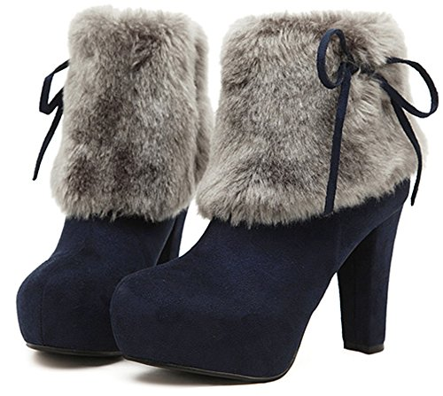 Easemax Women's Trendy Round Toe Zip Up High Chunky Heel Ankle High Faux Suede Boots With Bows Dark Blue WVDFRc4edA