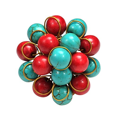AeraVida Unique Handmade Front Cluster Simulated Turquoise and Reconstructed Red Coral Organic Ring