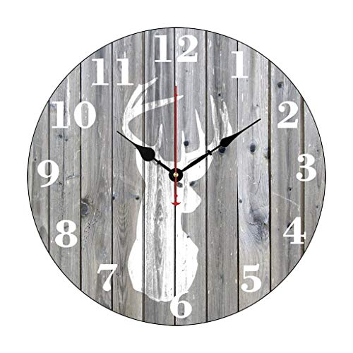 Deer Wall Clock - Hipster Vintage White Deer Head On Gray Wood Funny Wall Clocks Decorative for Living Room Kitchen Bedroom Bathroom Home Office Decor 14 Inches