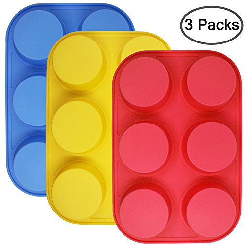 6-Cup Silicone Muffin Mold, Sourceton 3 packs of Muffin Pan, Non-Stick Baking Pan, Flexible, Cupcake Pans, Dishwasher, Oven, Microwave Oven Safed (Flexible Muffin Mold)