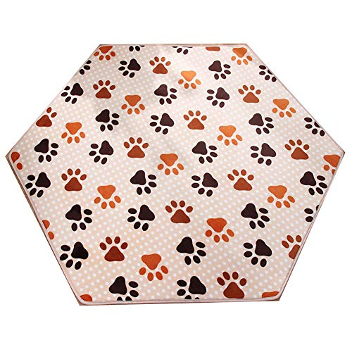 Missingift Hexagon Rug Pad Mat for Kids Playhouse Frieze Flannel Soft Floor Pads for Kids Hexagon Play Yard Pad Babyfeet Hexagon Baby Mat for Princess Tent Hexagon Playpen Mattress (Little babyfeet)